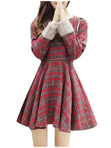 Mini Plaid Dress Crewneck Coolred Hit Accept Womens Waist Red Casual Color 55q0z