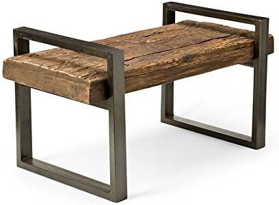 Plow Hearth Reclaimed Wood and Iron Outdoor Bench