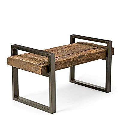 Awe Inspiring Plow Hearth Reclaimed Wood And Iron Outdoor Bench Short Links Chair Design For Home Short Linksinfo
