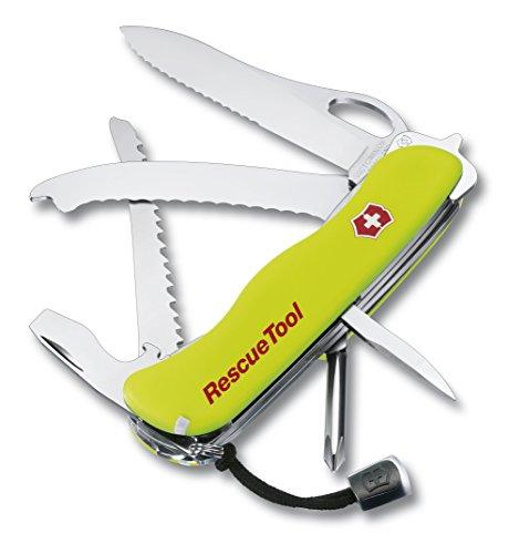 Victorinox Taschenwerkzeug Rescue Tool Einhänder Wellensch Gelb Nachleuchtend Nylon Etui, 0.8623.MWN