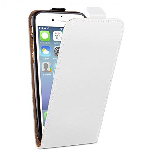 deinPhone iPhone 7 / iPhone 8 beschichtetes Leder Flip Case Hülle Weiß