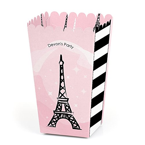Personalized Paris, Ooh La La - Custom Baby Shower or Birthday Party Favor Popcorn Treat Boxes - Custom Text - Set of -