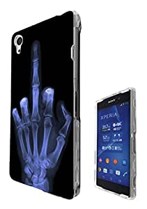 601 - Xray Middle Finger Skeleton Funky Design Sony Xperia Z2 Fashion Trend Hard Plastic Case Protective Full Case Front, Back & All Edges Protection Case Cover