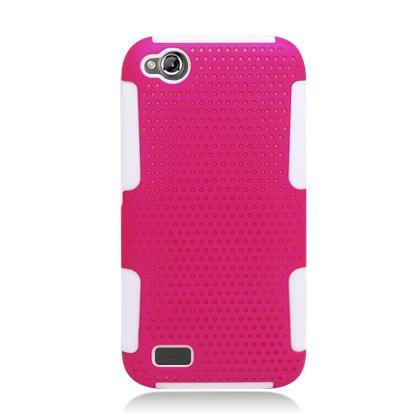 AIMO Progressive Hybrid Gummy Mesh Defense Case for BLU Life Play L100a - (White / Hot Pink)