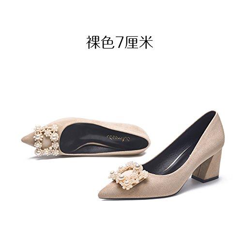 GAOLIM Parte De La Alta-Heel Shoes Zapatos De Mujer Inclinado Con Un Solo Zapato En La Luz De La Primavera Banquete Grueso Color Crudo Con Solo Zapatos Femeninos Color Crudo