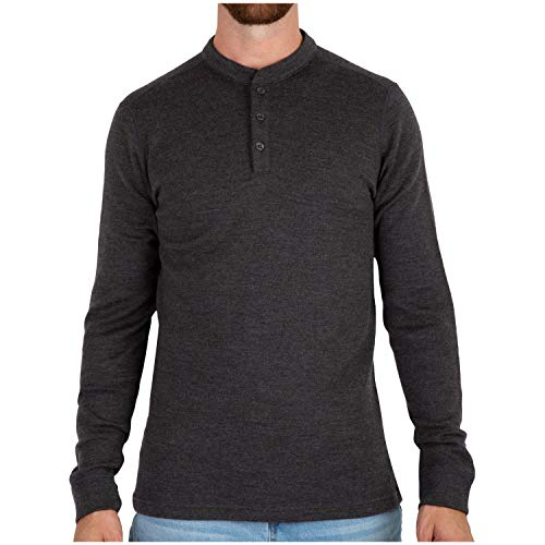 MERIWOOL Mens Merino Wool Heavyweight Thermal Henley Pullover Top - Large Charcoal Gray