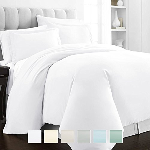 Pizuna 400 Thread Count Cotton Duvet Cover Queen White, 100% Long Staple Cotton Bed Set Queen/Full Size, Soft Sateen Bedding Set with Button Closure (100% Cotton White Quilt Cover Set Queen/Full)