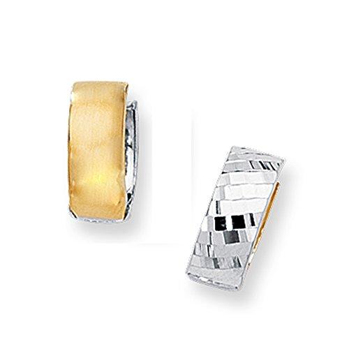 Reversible Huggie Earrings (14k Solid Yellow and White Gold Huggies Reversible Hoop Earrings 18)