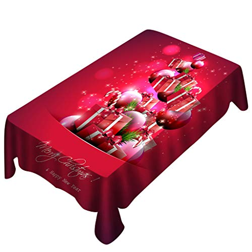 Digood Merry Christmas Printed Table Cloth, Washable Polyester Rectangular Tablecloth Dinner Picnic Table Cloths Home Parties Decoration Assorted Size, Red (59x59 Inch)