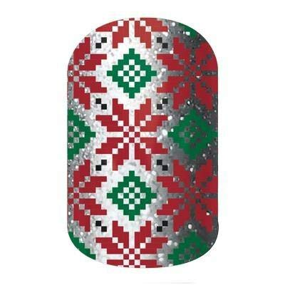 Jamberry Nail Wraps - Poinsettia - HALF Sheet - Red, Green & Silver Flowers - Sparkle Glitter - Christmas Holiday ()