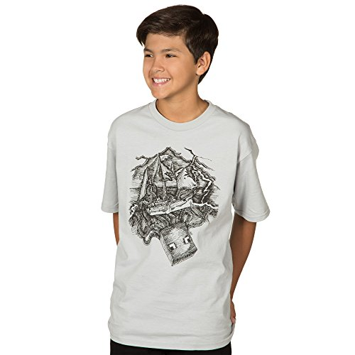 Minecraft Boy's Squid Pro Quo Youth T-Shirt, Silver, Small
