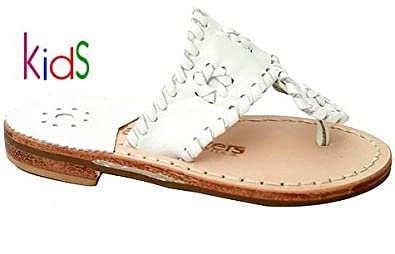 426aff2fb Jack Rogers Miss Navajo Kids Girls Leather Thong Sandals White Size  3 M US  Little