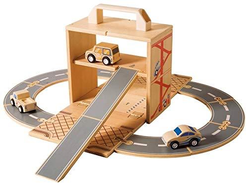 Diggin Box Set Cars. Wooden Toy Garage Play-Set. 3 Vehicles, Road Track & Wood - Toy Box Set