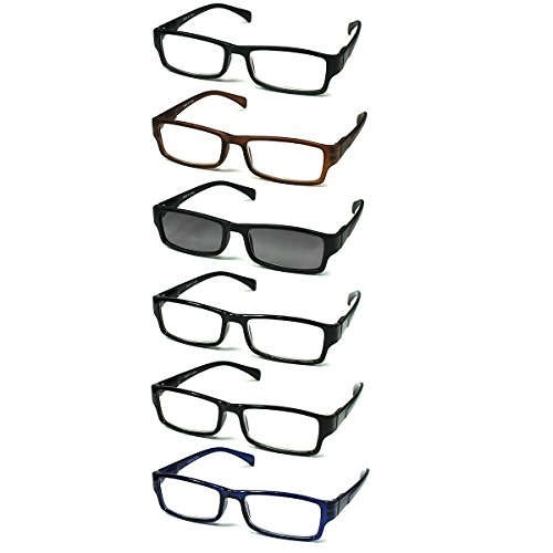 6-pack Spring Hinges Reading Glasses Unisex (5+1 Sunglasses Readers) + - Eye Unisex
