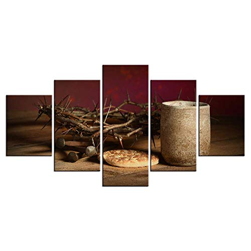 (LevvArts 5 Pieces Religions Canvas Prints Wall Art Crown of Thorns Posters Christian Holy Communion Pictures for Home Decor Gift Gallery Wrap Ready to Hang)