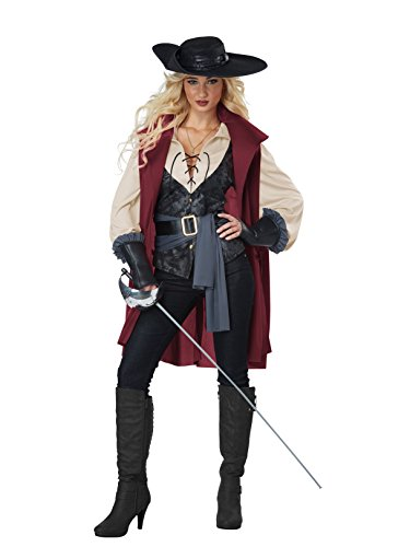 California Costumes Women's Lady Musketeer-Adult Costume, Black/Burgundy, Large