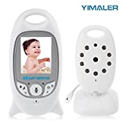 Yimaler Wireless Baby Monitor with Camera and Audio Night Vision 2 Way Talk Lullabies Temperature Monitoring 2.0inch LCD Screen