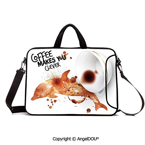 AngelDOU Notebook Bag for School Laptop Sleeve Messenger Bags Get Smart Be Clever Drink Coffee Inspiration Espresso Cappuccino PC Cover case Compatible with mac pro/asus/acer/hp/xiaomi Burnt Sienna ()