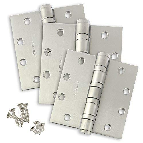 Bearings Steel Hinges - Commercial Door Hinges, Heavy Weight Butt Hinge, 4.5 x 4.5, Ball Bearing, Satin Stainless Steel (US32D), 3 Pack, Lawrence Hardware