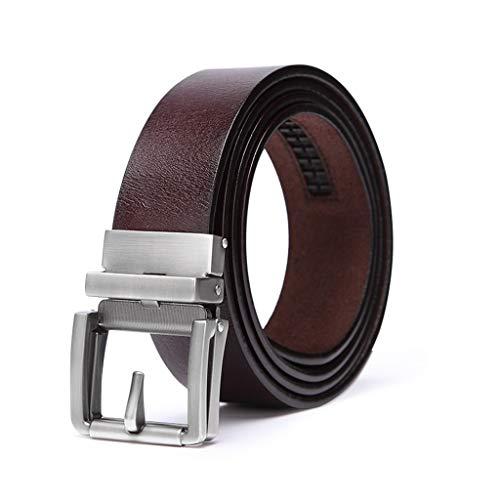 Guess Retro Pant - Toumun Belt Men's Leather Automatic Buckle Belt Retro Pants Belt Folding Pin Buckle Belt No Layer Jeans Comfort Casual (Color : Brown)