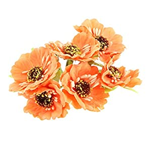 BROSCO Artificial 60-Head Sunflower Blossom Silk Flower Bouquet Floral Decor 13 Colors | Color - Orange 75