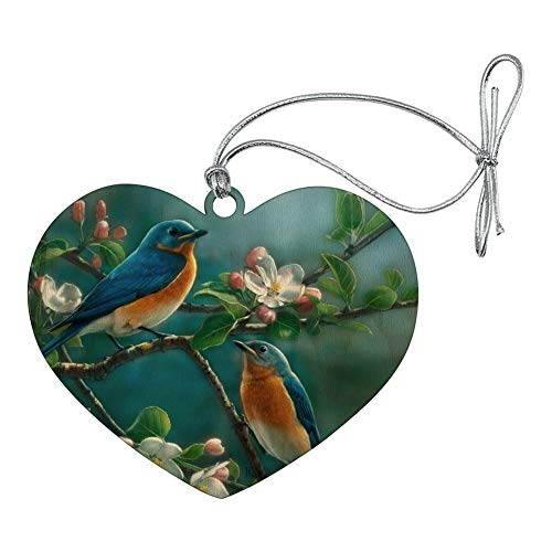 (GRAPHICS & MORE Eastern Bluebirds Blue Birds Thrush Heart Love Wood Christmas Tree Holiday Ornament)
