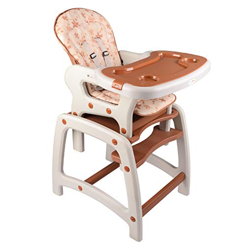 Dearbebe 3 in 1 Baby High Chair Booster Seat Toddler Chair with Eating Table, Brown