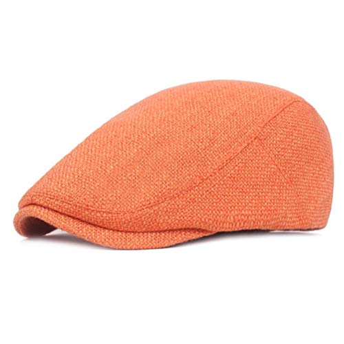 - RICHTOER Women Men Outdoor Tourism Vintage Flat Cabbie Newsboy Ivy Hat Sun Beret Cap (Style1 Orange)