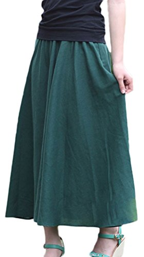 Soojun Women's Solid Cotton Linen Retro Vintage A-line Long Maxi Skirts Dark Green Length (Green Linen Skirt)