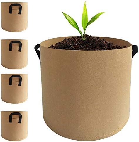 [スポンサー プロダクト]Beansfun 不織布ポット 7ガロン 5個入り フェルト プランター 丸 野菜栽培 発育促進 カーキ(30高x35直径)