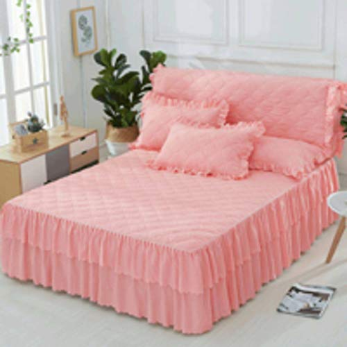 QXJR Princess Quilted Bed Skirts,Bed Cover,Solid Color,Bed Covers,Mattress,Bed Decoration Valance Sheet Box Ruffled Pleated - Valance Jade