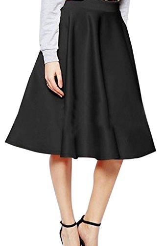 Dazosue Womens Vintage Jupe Taille Haute, Robes De Lenghth Bureau Lady Dcollet Genou Black