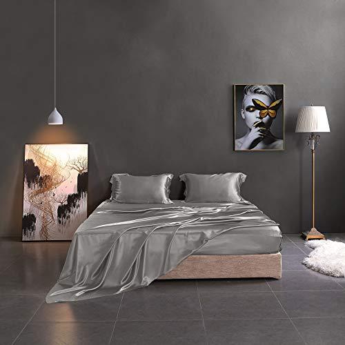 THXSILK Silk Sheet Set 4 Pcs, 19 Momme Silk Bed Sheets, Luxury Bedding Sets -Ultra Soft, Durable-100% Top Grade Mulberry Silk - Full Size, Grey