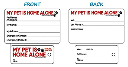 Amazon emergency info my pet is home alone key tag wallet emergency info my pet is home alone key tag wallet card ccuart Choice Image