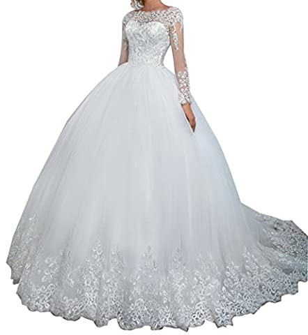 LISA.MOON Women's Jewel Long Sleeve A Line Sweep Train Appliqued Net Bridal Gown White US18W - Full Sweep Gown
