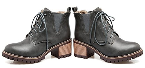 Round Shoes Short Students' Martin Women's Heels Toe QZUnique Thick Grey Boots Mid wTHdvYYq