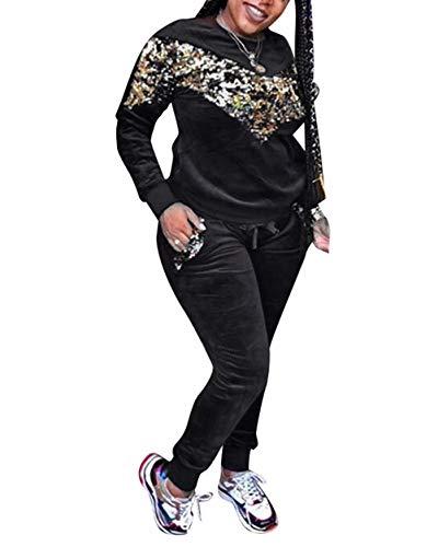 2 Piece Outfits for Women Sequins Velour Tracksuit Sweatsuit Jog Set Black XL -