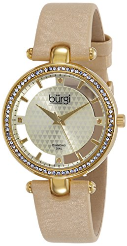 Burgi Women's BUR104YG Crystal Accented Yellow Gold Swiss Quartz Watch with White and Yellow Gold and See Thru Dial and Cream Satin Strap