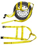 S0T7 New 2X Car Basket Straps Adjustable Tow Dolly DEMCO Wheel Net Set Flat Hook Standard Wheels Fits (13-19 Inches, Yellow)