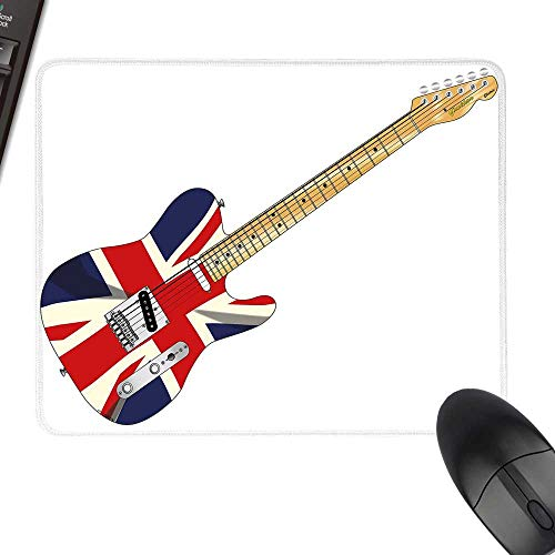 Union Jack Extra Large Mouse Pad Classical Electric Guitar UK Flag Great Britain Music Instrument with Stitched Edges 23.6