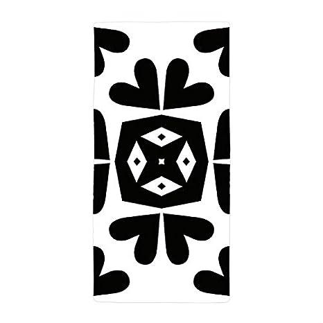jesspad toalla de baño corazón patrón negro toallas de playa piscina sencillo y moderno: Amazon.es: Hogar