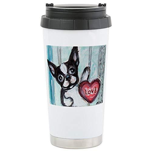 CafePress Boston Terrier Heart Travel Mug Stainless Steel Travel Mug, Insulated 16 oz. Coffee Tumbler