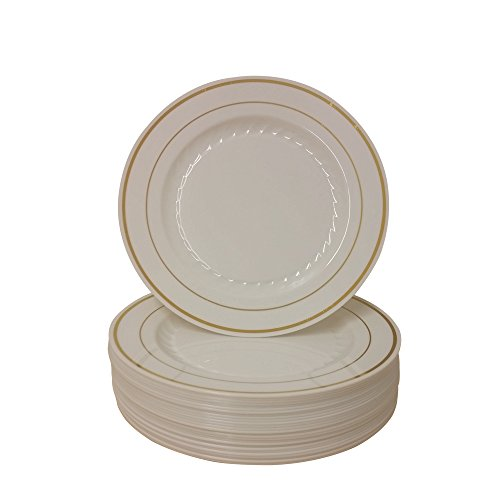 (9 Inch Plastic Plates Trimmed With Gold High Quality. Pack Of 80 Elegant Disposable Dinnerware)