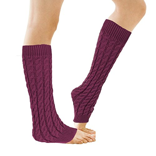 Zando Women's Winter Knitted Wool Boot Cuffs Pure Color Rope Figure Leg Warmers Wine Red