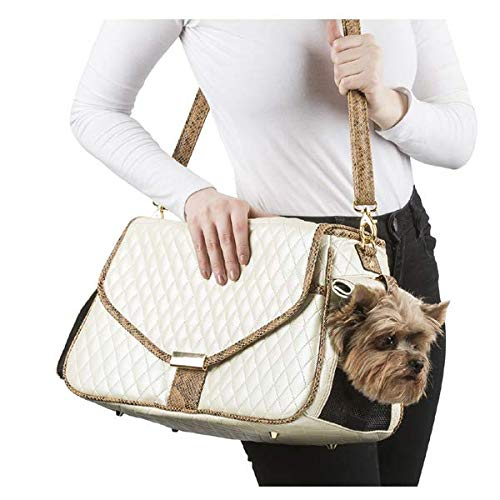 Siera Dog Bag - Ivory Quilted