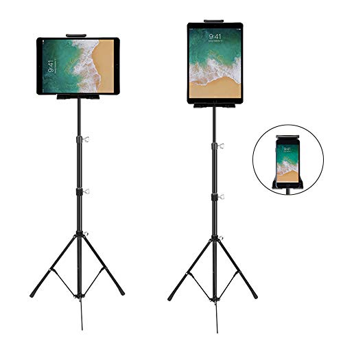 "Phone and iPad Tripod Stand, Dream-C Foldable iPad Floor Stand 20 To 50 Inch Height Adjustable 360 Rotating Tablet Tripod Mount for iPad Mini, iPad Pro 10.5"" 9.5'' all 4-12 Inch Devices, Carrying Bag"