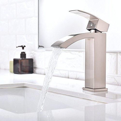 outlet Single Handle Waterfall Bathroom Vanity Sink Faucet with Extra Large Rectangular Spout, Brushed Nickel