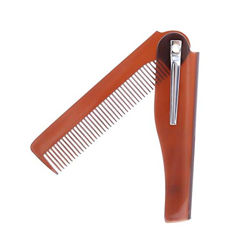 (1 Pc Mens Womens Beauty Handmade Folding Pocket Clip Hair Moustache Beard Comb (Color - Coffee) )