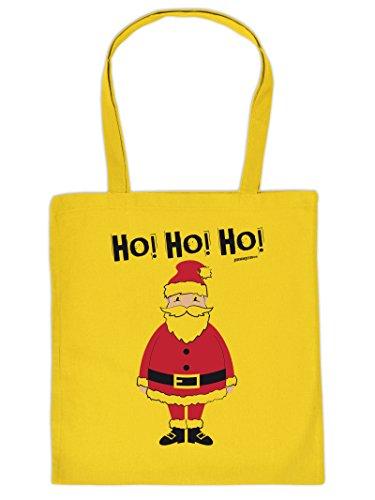 Weihnachten kommt immer näher - Stofftasche mit Druck - WEIHNACHTSMANN HO! HO! HO! - Geschenkidee. Gelb