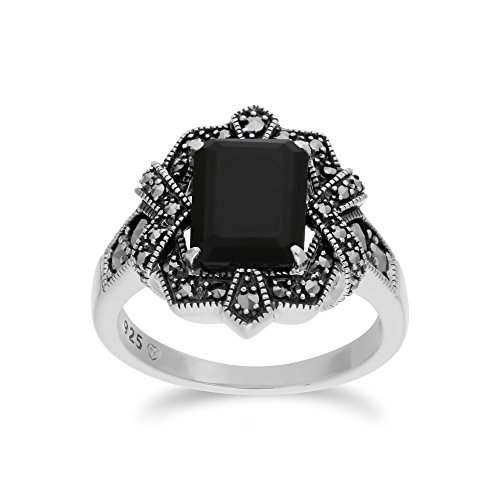 Gemondo Black Onyx Ring, Sterling Silver Black Onyx & Marcasite Octagon Art Nouveau Ring
